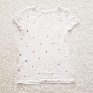 Cherry Print V-Neck Short Sleeve Tee